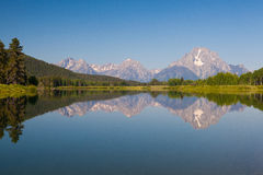 View of the Grand Teton Mountains from Oxbow Bend on the Snake R Stock Image