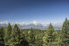 View of the Grand Tetons from Signal Mountain. View of the Grand Tetons (Wyoming, USA) from Signal Mountain, with Jackson Lake in front royalty free stock image
