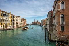 View of Grande Canal in Venice. Venice, Italy. Day view of Canal Grande with boats stock images