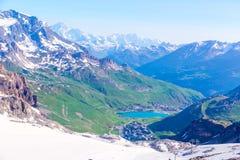 View from the Grande Motte glacier at Tignes, Stock Image