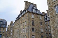 View of granite buildings of Saint-Malo in Brittany, France. View of granite buildings of Saint Malo in Brittany, France royalty free stock images