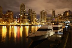 Granville Island, Night Yachts, Vancouver Royalty Free Stock Images