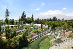 View from Grau bridge. Arequipa. Peru. Arequipa is the capital and largest city of the Arequipa Region and the second most populous city in Peru stock photo