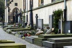 View of the grave at cemetery. View of the grave at the cemetery in Prague Royalty Free Stock Images