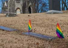 View of graves of LGBT couple stock photography