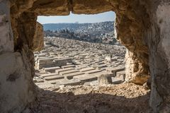 View of graves on the Mount of Olives , Jerusalem Old City ,Israel, stock image