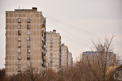 View of the gray residential buildings stock photo