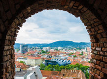 View of Graz city from hill, Austria Stock Photo