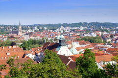 View on Graz from Schlossberg. Graz is the second-largest city in Austria after Vienna and the capital of the federal state of Styria (Steiermark Royalty Free Stock Photo