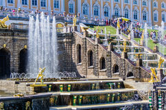 View on Great Cascade Fountain in Peterhof, Russia Stock Photography