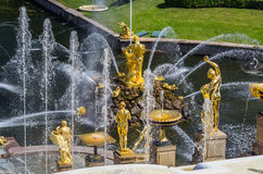 View on Great Cascade Fountain in Peterhof, Russia Royalty Free Stock Image