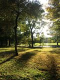 View of The Great Lawn during Sunset in the Fall in Central Park, Manhattan. Royalty Free Stock Image