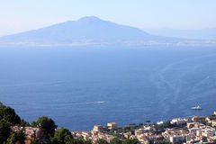 The view on the great Mount Vesuvius, Naples, Italy. Royalty Free Stock Image
