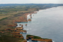 View of the great ocean road from helicopter Stock Photo