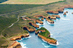 View of the great ocean road from helicopter Stock Image