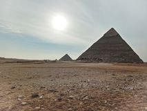 A view of the the Great Pyramids at Giza, Egypt.  royalty free stock photography