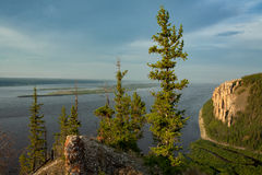 View of the great river with the high rocky shore. Royalty Free Stock Photos