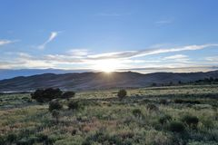 View on Great Sand Dunes Colorado sunset royalty free stock image