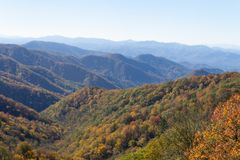 View of Great Smoky Mountains, Blue Ridge, fall foliage colors. Horizontal aspect stock image