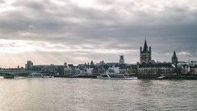 View on Great St. Martin Church and Tower of City Hall in Cologne Royalty Free Stock Images