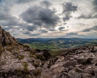 View from Great Sugar Loaf. A panoramic view from the Great Sugar Loaf, Wicklow, Ireland Stock Images
