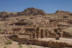 View of The Great Temple and Arched Gate in ancient city Petra, Royalty Free Stock Photo