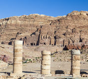 View from Great Temple towards urn, silk and royal tombs. Petra. Stock Photo
