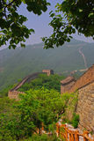 View of Great Wall at Mutianyu. With Tree Leaves stock images