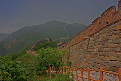 View of Great Wall at Mutianyu. Next to the Tall Structure royalty free stock image