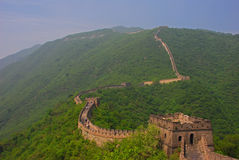 View of Great Wall at Mutianyu. Wide View of Great Wall at Mutianyu with Plenty of Green royalty free stock photo