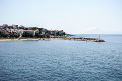View of the greek city on the coast Royalty Free Stock Image