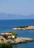 View of Greek Island with house and blue sea Stock Photography