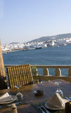 View from greek island taverna Royalty Free Stock Images