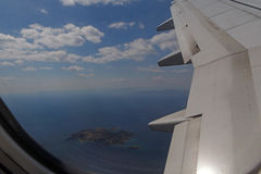 View on Greek islands from aircraft Stock Photos