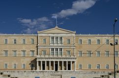 Facade of the Greek parliament building stock photography