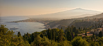 View from Greek theater Taormina Sicily Royalty Free Stock Photo