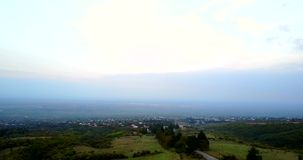 View on the Alazan Valley By Aerial Drone. Georgia, Kakheti wine region. View on the green Alazan Valley By Aerial Drone. Kakheti wine region. Georgia stock video footage