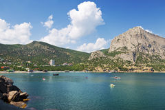 View of Green Bay and the mountains near the village of Novy Svet. Crimea, Russia Royalty Free Stock Image