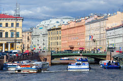 View of Green Bridge over Moika River, St. Petersburg, Russia Stock Photo