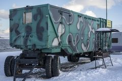 View of the green camper van stock photo