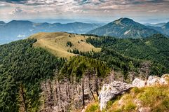 View of green hills stock photography