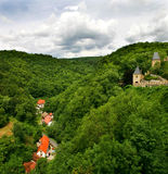 View on green hills and castle in Karlstejn. Royalty Free Stock Photos
