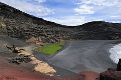 Green Lagoon in volcanic landscape, El Golfo, Lanzarote, Canary Royalty Free Stock Photography