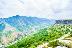 View on green mountain landscape and george valley in Armenia royalty free stock photography