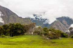 A view of a green mountain valley of the Inca city Royalty Free Stock Photos