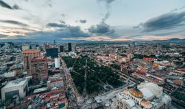 View of the green park Alameda Central in the city center of Mexico City,. Mexico Royalty Free Stock Image
