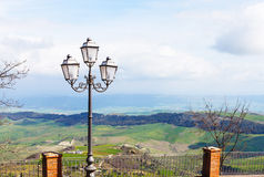 View of green sicilian lands from Aidone town Royalty Free Stock Image