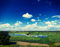 View on green spring flood field with beautiful cloudy sky insta Stock Photography