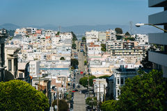 View of Green Street, in San Francisco, California. Royalty Free Stock Photography
