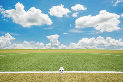 View of green striped football field Stock Image